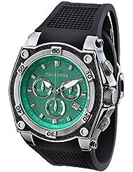 CALABRIA - AVVENTURA - Green Dial Chronograph Mens Watch with Carbon Fiber Bezel