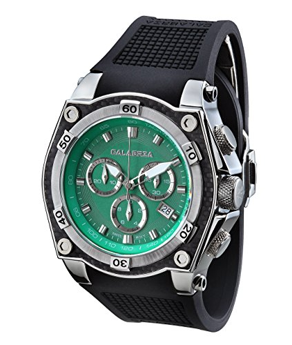 Dial Green Bezel (CALABRIA - AVVENTURA - Green Dial Chronograph Men's Watch with Carbon Fiber Bezel)