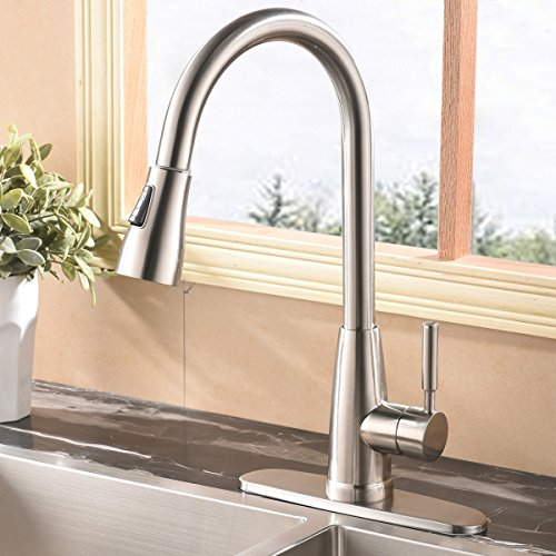 Commercial Stainless Steel Single Handle Pull Down Sprayer Kitchen Faucet, Brushed Nickel Pull Out Kitchen Sink Faucet With Deck Plate