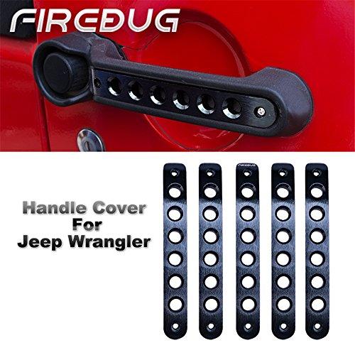 - Jeep Wrangler Door Handle Inserts 5 Pcs/Sets Brushed Aluminum - Black, Jeep Door Grab Handle Inserts Cover Trim for 2007-2018 Jeep Wrangler JK & Unlimited 4 Door, Jeep Wrangler Accessories Door Insers