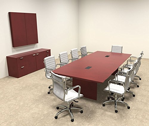 Wood Modern Rectangular Shape 10' Feet Conference Table, OF-TEC-C5