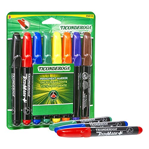 (TICONDEROGA RediMark Plus Low Odor Permanent Markers, Chisel Tip, Set of 8 Markers, Assorted Colors (95010))