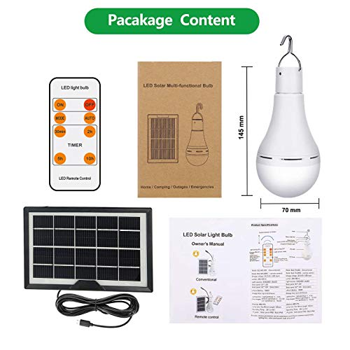 Afoskce Solar Light Bulb Outdoor Rechargeable 9W 350LM Solar Powered Light Led Bulb with Remote Timer, Lighting Sensor, 4 Lighting Mode for Chicken Coops Shed Hiking Camping Hurricane Lighting