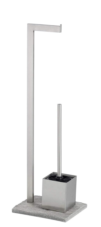 Wenko Portarrollos con Escobillero, Acero Inoxidable, Plata, 19.5x23x73.5 cm
