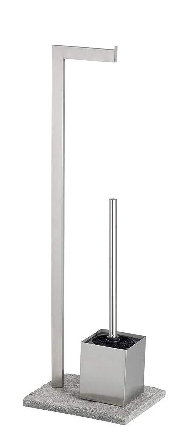 WENKO 20604100 - Juego de inodoro de granito - Escobillero, acero inoxidable, 23 x 73.5 x 19.5 cm, acabado satinado