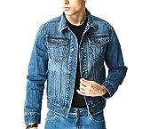 Aspop Jeans Men's Regular-Fit Jean Jacket S Dark Stone Wash
