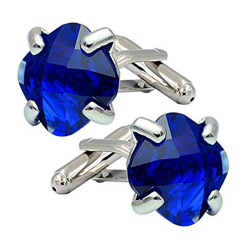 (Daptsy Fashion shiny blue crystal stone cufflinks for men & women wedding& party use French simple style)