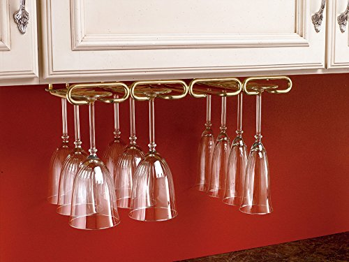 Rev-A-Shelf - 3450-11BR - 11 in. Brass Under Cabinet Quad Wine Glass Holder (Wine Holders Bar Glass Accessories)