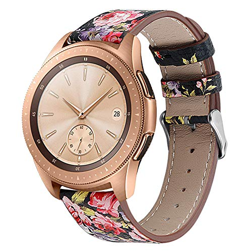 Soft Leather Material Smart Watch Band Replacement Compatible for Samsung Galaxy 42mm Women Straps (Black with Pink Flower)