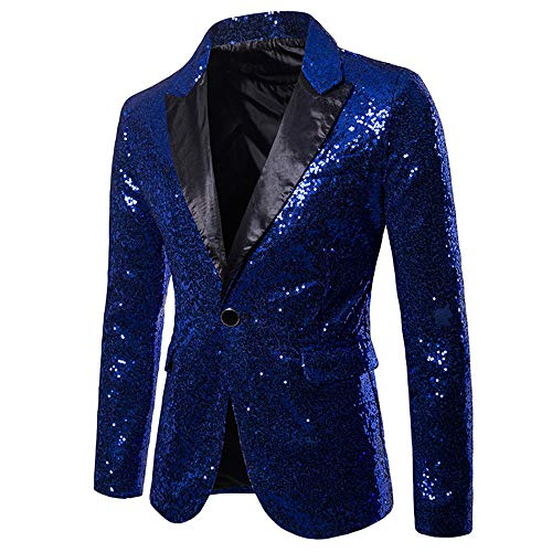 MAGE MALE Men's Shiny Sequins Suit Jacket Blazer One Button Tuxedo for Party,Wedding,Banquet,Prom]()