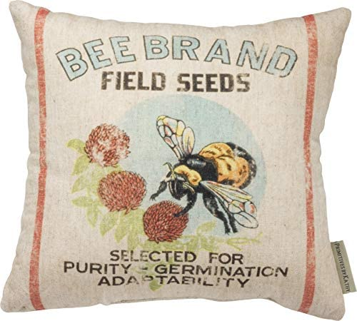 Primitives by Kathy Feedsack-Inspired Throw Pillow, 12 x 12-Inches, Bee Brand Field
