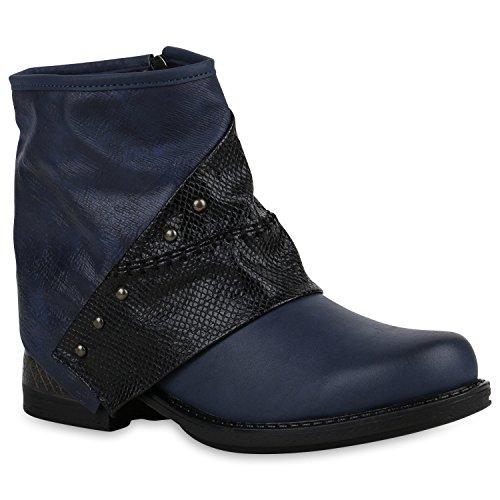 Stiefelparadies Damen Stiefeletten Zipper Biker Boots Schuhe Leder-Optik Schnallen Knöchelhohe Stiefel Damenschuhe Flandell Dunkelblau Autol