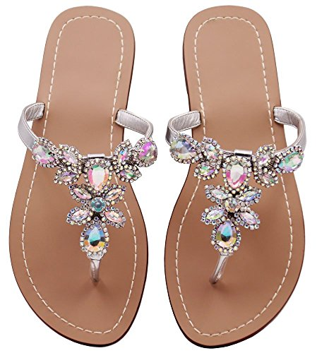 S&S-women Summer Flat Sandals Shoes,Bohemian Rhinestone T Strap Flip Flop Low Heel Shoes Silvery Size ()