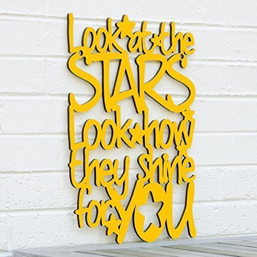 Look At The Stars Sign - Coldplay Lyrics Plaque - Kids Bedroom Wall Art