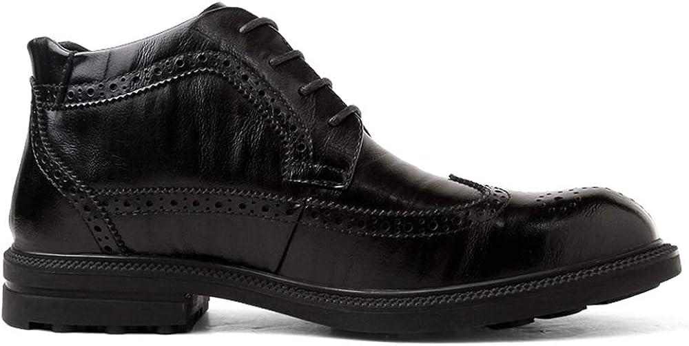 SJXIN-Mens Bottes Hiver Bottes en Cuir Hommes, Mode Bottes Cheville Hommes Casual Classique Sculpté avec du Coton en Hiver Brogue High Top Boot Black