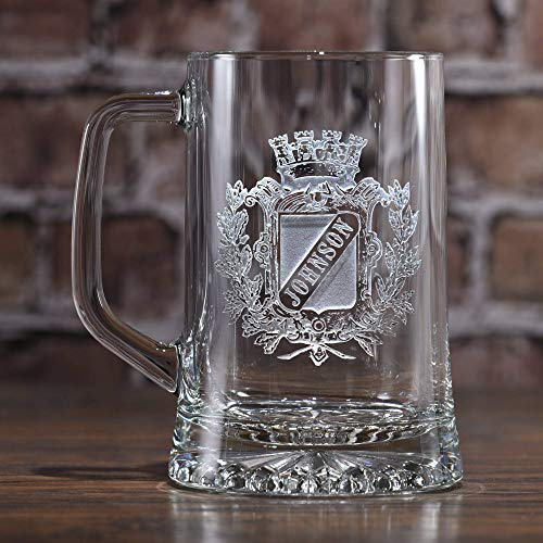 - Family Crest Beer Mug, Engraved Coat of Arms Mug - One Mug - (crest)