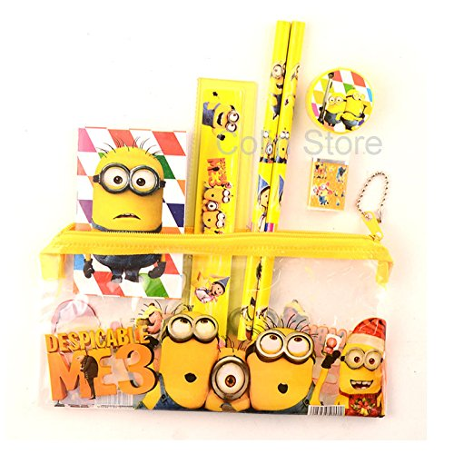 New Cute Despicable Me Minion Pencil Case Stationery Zipper Set Kids Boy Girls