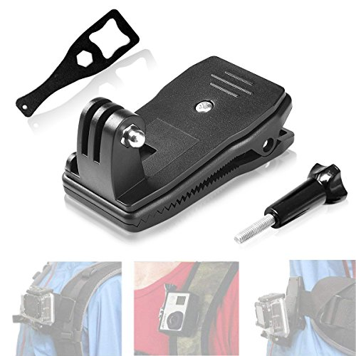 Fantaseal Action Camera Clamp Mount 360 Degree Rotary Clip Clamp Backpack Mount Rec-Mount Compatible with GoPro Hero 7 6 5 4 /Session 3+ 3 SJCAM SJ4000 Garmin Virb XE etc