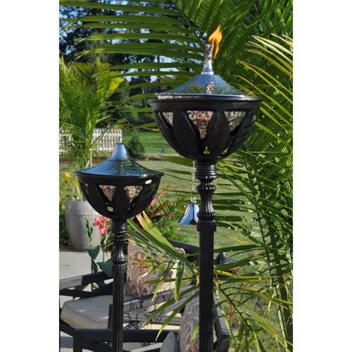 Starlite Garden and Patio Torche AKEX-FS-2300-BLK Hammered Nickel Set of 2 Bali Patio Torch, 61