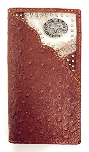 Western Mens Ostrich Genuine Leather Longhorn Long Cowhide Stud Bifold Wallet (Brown)