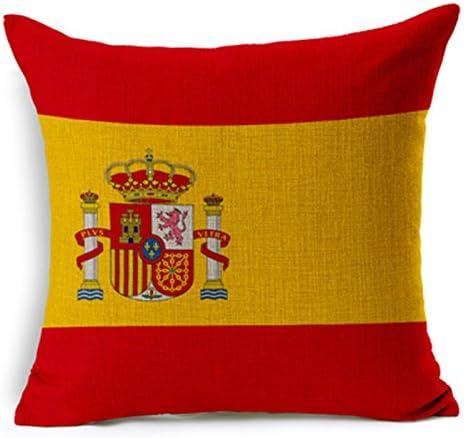 silkcrane, de la bandera de España Impreso Lino y Algodón Manta Decorativa Funda de almohada, 17,7