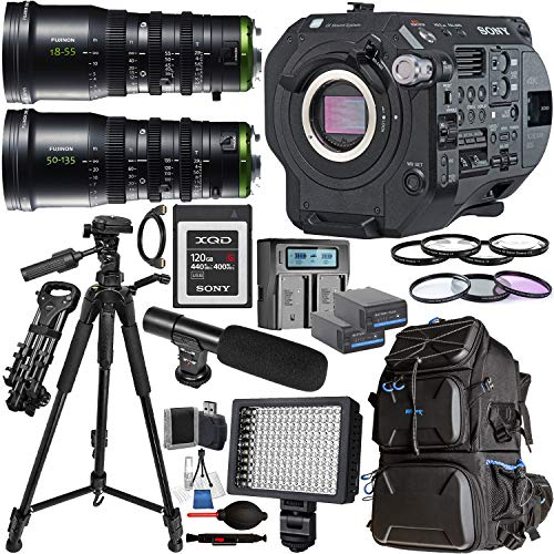 Sony PXW-FS7M2 XDCAM Super 35 Camera System (PXW-FS7M2) with Fujinon MK18-55mm T2.9 Lens (Sony E Mount), and Fujinon MK50-135mm T2.9 Lens (Sony E Mount) with Deluxe Accessory Bundle