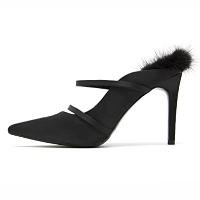 Femmes Dames Bout Pointu Extrême Talon Stiletto Slip-on Court Chaussures Sandales Taille,Black-EU40/250
