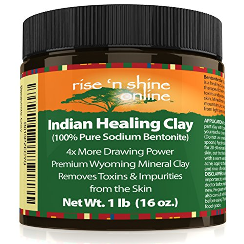 (16 oz) Bentonite Clay Powder - 100% All Natural Face Mask Detox, Skin Pore Cleansing and Rejuvenates Skin and Hair - Helps Acne Psoriasis and Eczema - Pure Sodium Bentonite from Wyoming (Bentonite Clay Chunks)