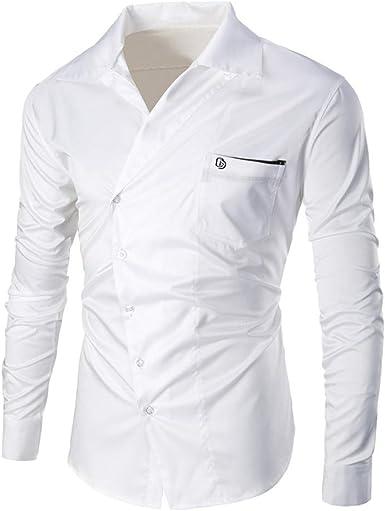 Huihong Hombres, Verano, botón sólido, Manga Larga, Camisa ...