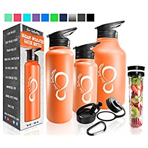 Double Wall Vacuum Insulated Water Bottles–30, 40 & 64oz 18/8 Food Safe Stainless Steel- Includes Flip Top & Wide Mouth Lid, Removable Fruit Infusion Rod & Carabiner- For Hot & Cold (Tangerine 40oz)