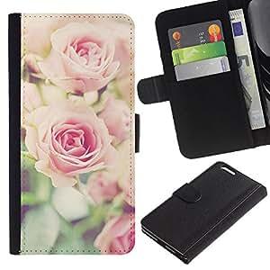 Billetera de Cuero Caso del tirón Titular de la tarjeta Carcasa Funda del zurriago para Apple Iphone 6 PLUS 5.5 / Business Style rose vignette pink floral spring nature