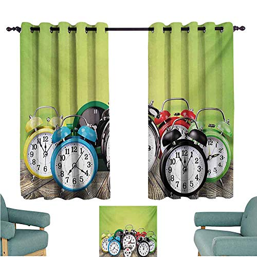 DONEECKL Sliding Curtains Clock A Group of Alarm Clocks on The Wooden Ground Digital Print Nostalgic Design Print Thermal Insulated Tie Up Curtain W63 xL63 Lime Green