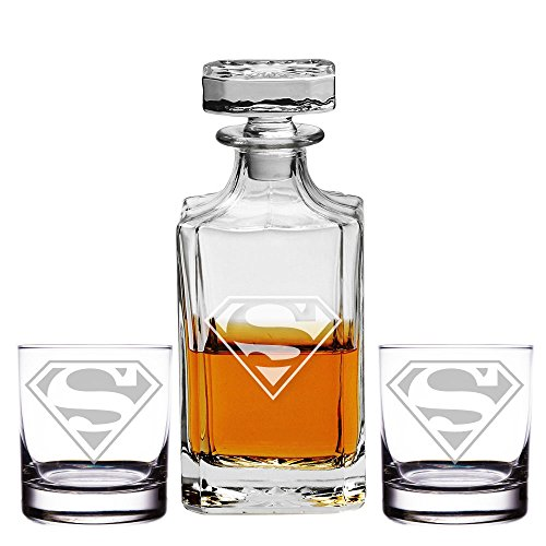 Abby Smith, Superman Engraved Decanter and Rocks Glasses, Set of -