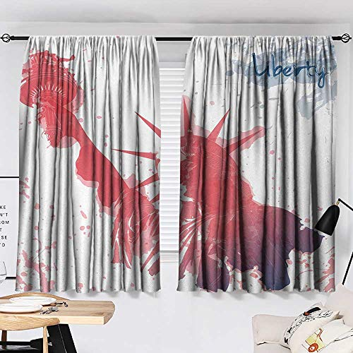 Jinguizi 4th of July Curtain for Kitchen Window Watercolor Lady Liberty Silhouette with Paint Splashes Independence Printed Darkening Curtains Dark Coral Pale Blue W55 x L39 by Jinguizi (Image #1)
