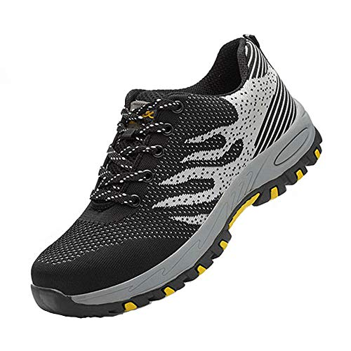 Maybolury Men Women Steel Toe Shoes, Industrial Construction Outdoor Breathable Work Safety Shoes Puncture Resistant Work Sneakers Shoes Black (Best Work Sneakers 2019)