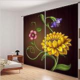 LB 2 Panels Room Darkening Blackout Curtains, Blooming Flowers 3D Effect Print Living Room Bedroom Window Drapes (104''W x 63''H)