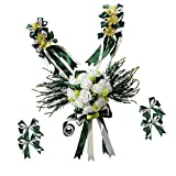 Fityle Wedding Car Decor Set Silk Flower Car Head Roof Mirror Door Handle Decor Colors - Green, as described