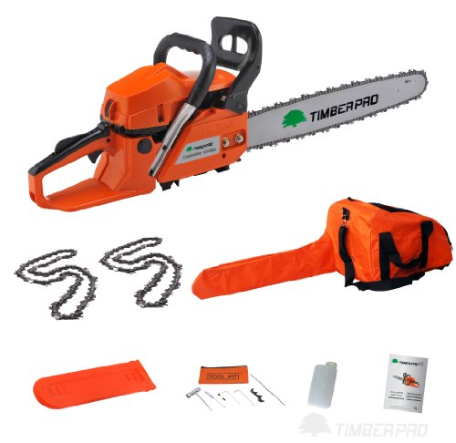 TIMBERPRO® 58cc 3.4HP 20'' Petrol Chainsaw with 2 Chains, Carry Bag, Tool Kit. Professional Quality Chainsaw by T4Tools