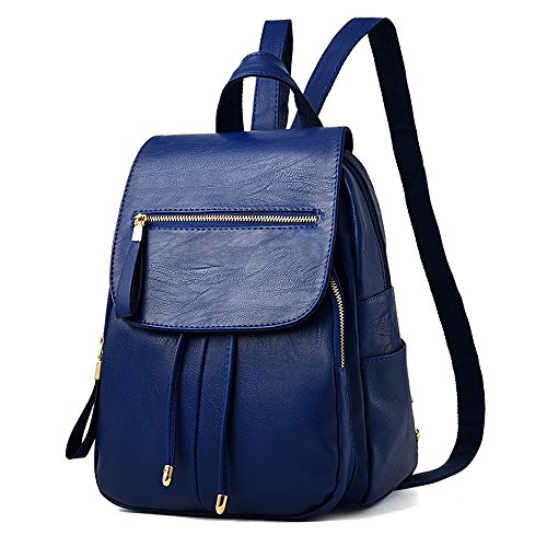 (jvp 1049-b) Backpack Women Pu Waterproof Leather Dark Blue Western Red Ring Of Light Backpack Style Bag And Light Backpack Large Capacity Commuter Bag Junior High School Navy