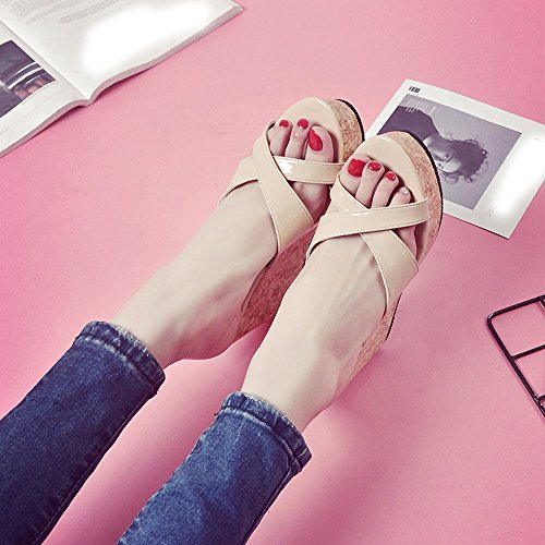 Casual Clearance Peep And For Women Bottom High Sandals Heels Sale High Toe Women,Farjing Thick Slope Summer Beige Fashion Heels gpq6g