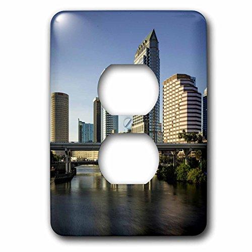 3dRose Danita Delimont - Cities - Hillsborough River and the skyline of Tampa, Florida, USA - Light Switch Covers - 2 plug outlet cover - Tampa Florida Outlets