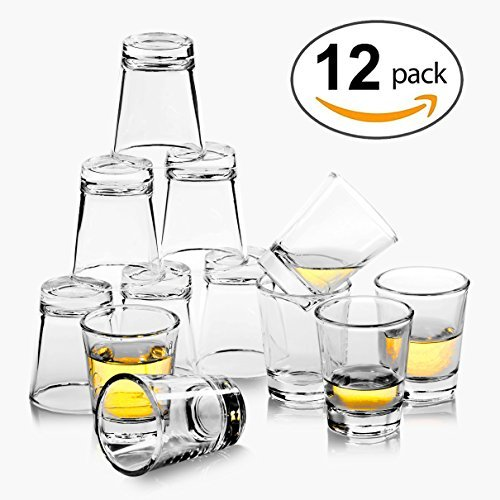 REATR 1.5 oz Shot Glass Set of 12 Food Safe Grade Tequila Shot Glasses with Cleaning Cloth Drinking Glassware Clear Shot Glasses Thick for Vodka, Rum, Liqueur, Spirit, Alcohol Small Shooter Glass Cup -