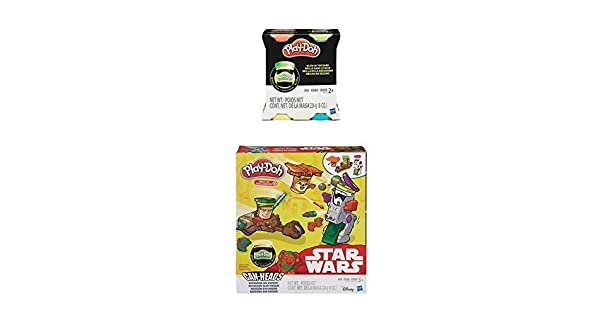Bundle Featuring Can-Heads Luke Skywalker Mission on Endor Ewok Play-Doh Star Wars Biker Scout PLUS Extra 4-Pack of Glow in the Dark Modeling Compound