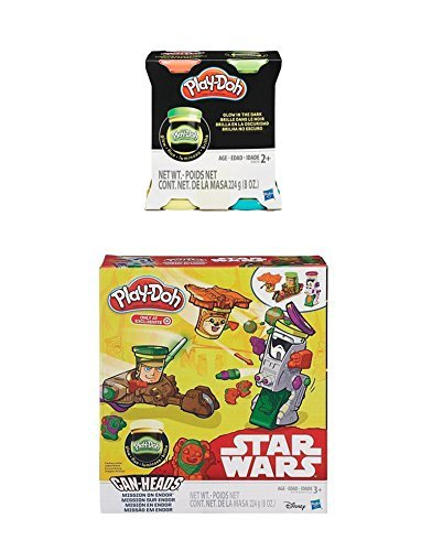 Play-Doh Star Wars, Mission on Endor, Featuring Can-Heads Luke Skywalker, Ewok, Biker Scout PLUS Extra 4-Pack of Glow in the Dark Modeling Compound (Bundle) ()