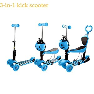 Ferty Kids Kick Scooter, 3-in-1 Adjustable Height & Seat Mini Scooters with 3 LED Light Up Wheels (blue)