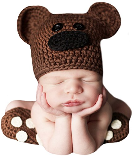 Crocheted Newborn Baby Booties - Melondipity's Brown Bear Hat and Booties SET - Newborn Photography Prop