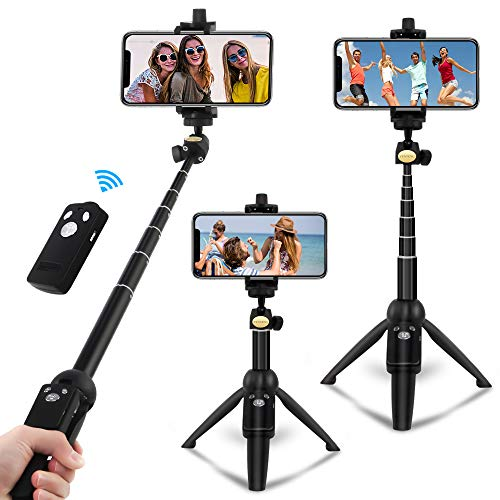 Hanmir Bluetooth Selfie Stick Foldable Long Distance iPhone Stand Tripod with Wireless Remote Tripod for Cell Phone…