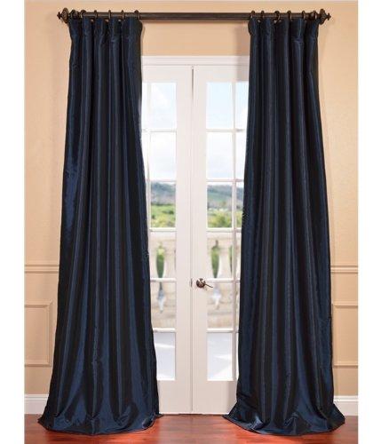 Half Price Drapes PTCH-BO194010-120 Blackout Faux Silk Taffeta Curtain, Navy Blue