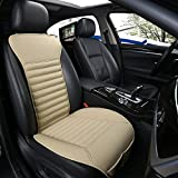 DINKANUR Car Seat Protector PU Leather Bamboo Charcoal Car Interior Seats Suit for Most Cars with slim Waistline Backrest (1 PCS )(beige)