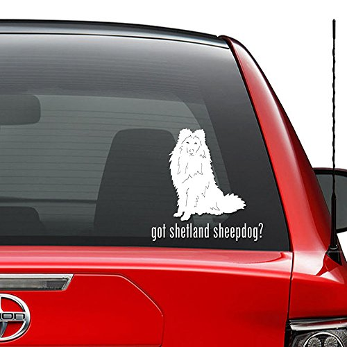 (Got Shetland Sheepdog Pet Vinyl Decal Sticker Car Truck Vehicle Bumper Window Wall Decor Helmet Motorcycle and More - (Size 9 inch / 23 cm Tall) / (Color Gloss White))